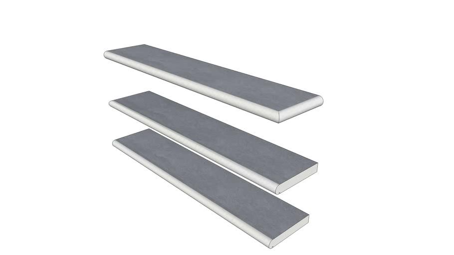 Elapse Mist Porcelain Steps 1194 x 250 x 40 mm Bullnose Edge With Drip Groove