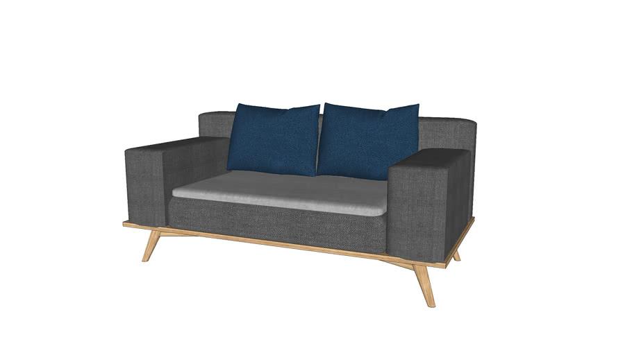 Canapé sur-mesure en chêne massif 2 personnes 150x75 cm / Sofa