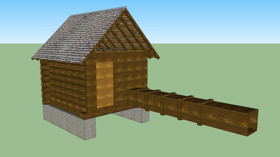 Water-wheel house and water-wheel