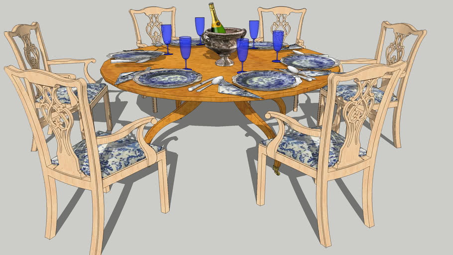 Rose Tarlow Regency Dining Table With Bleached Chippendale Chairs And Place Settings 3d Warehouse