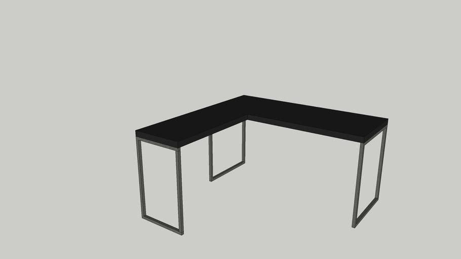 Mesa estilo industrial, L - preto