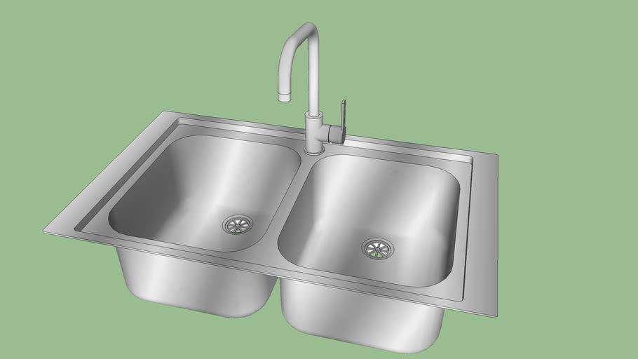 Lavello Da Incasso Due Vasche In Acciaio Inox 3d Warehouse