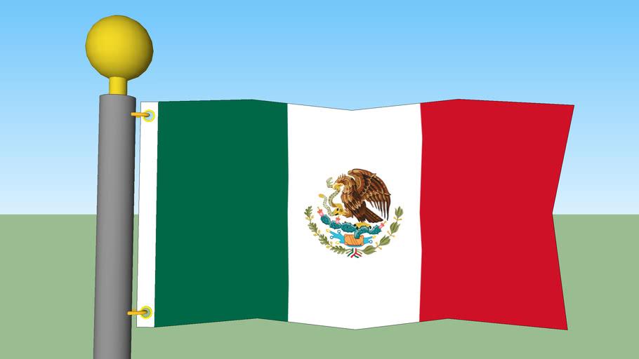Mexico Flag wth Flagpole