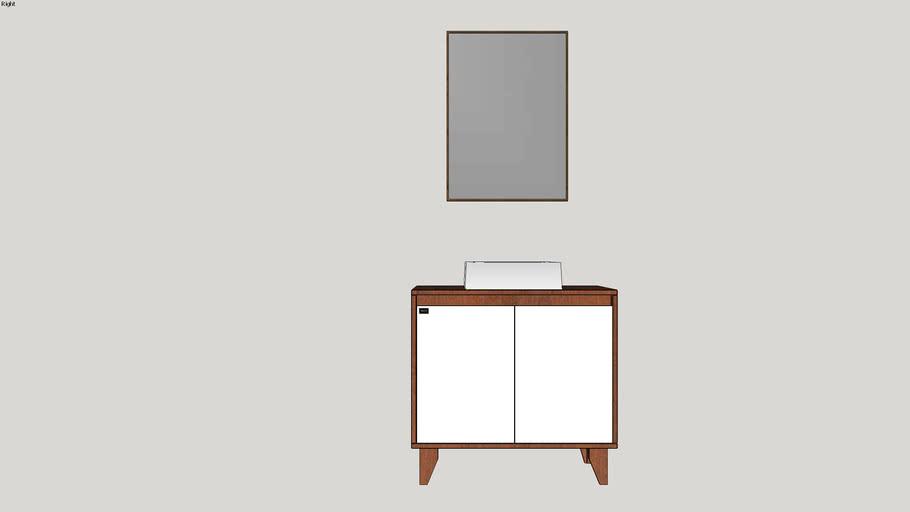 Conjunto Anny 80cm Mazzu com espelho Nórdic ipê/branco
