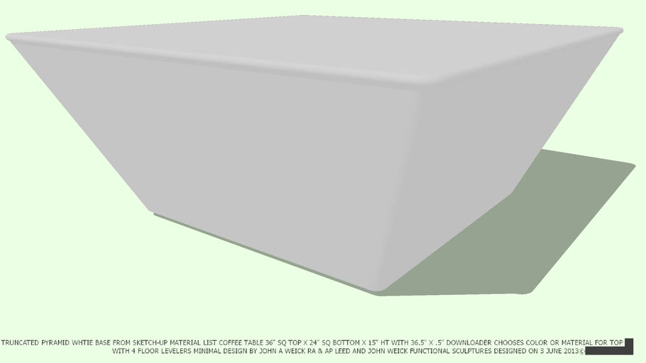 TABLE COFFEE 36.5 SQ X 15.5 HT WHITE  NO COLOR ON TOP BY JOHN A WEICK RA