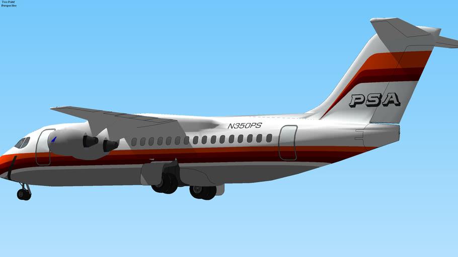 PSA (1989) - BAe-146 Landing in KBUR Burbank Pasadena, CA, USA.