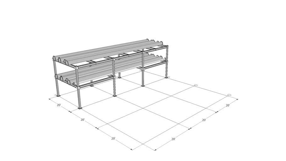 20'x20' Bay ConXR Multi Level Pipe Rack