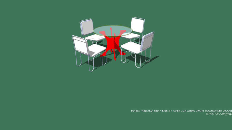 "DINING TABLE RED X BASE 42 ""D GLASS TOP & 4 PAPER CLIP CHAIRS WITH DOWNLOADER CHOOSING CUSHIONS COLOR OR MATERIAL DESIGNED BY JOHN A WEICK RA & AP LEED ON 01 NOV 2015 & PART OF JOHN WEICK FUNCTIONAL SCULPTURES"