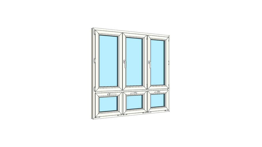 Окно штульповое трехстворчатое с тройной нижней фрамугой VEKA Softline 82
