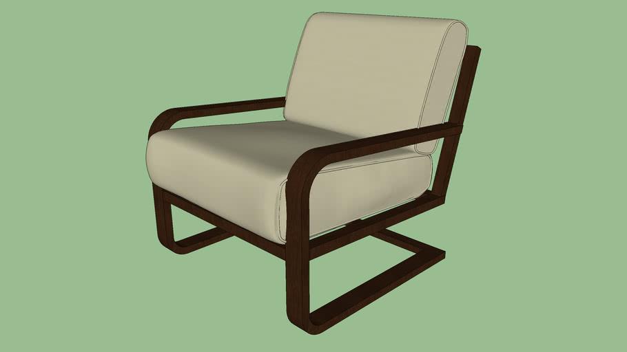 brown wood cushion chair