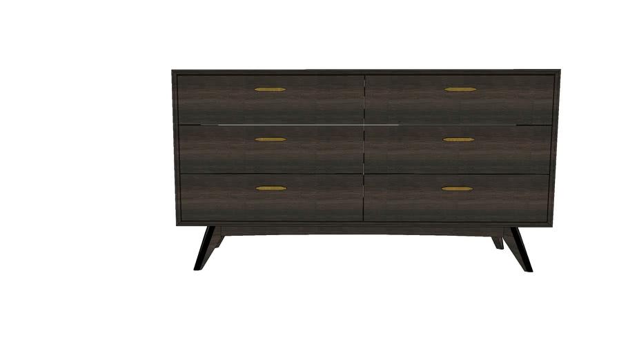 Loft Wooden Dresser, 6 DRAWERS 160CM