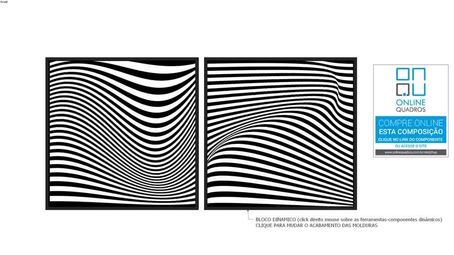 Composição de 2 Quadros Abstratos linha Geométrica PB