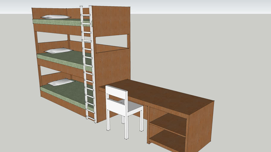 triple bunk with desk