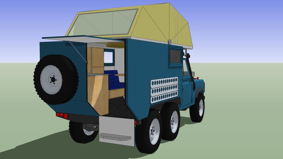 Land Rover Defender 110 6x6 Camper Avec Interieur 3d