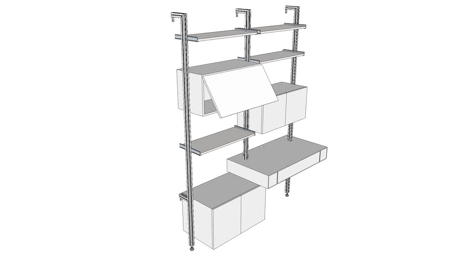 ISS Designs Modular Shelving - 2Bay HomeOffice System with Floating Desk