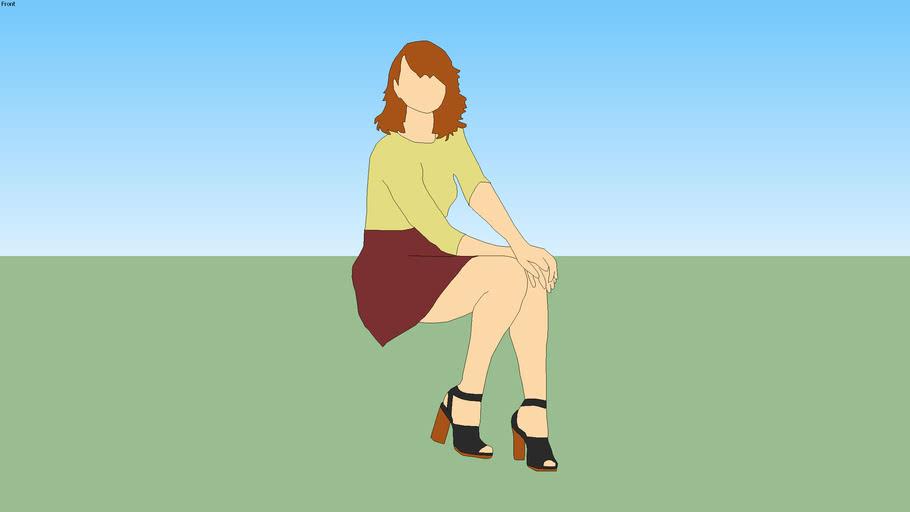椅子に座る女子