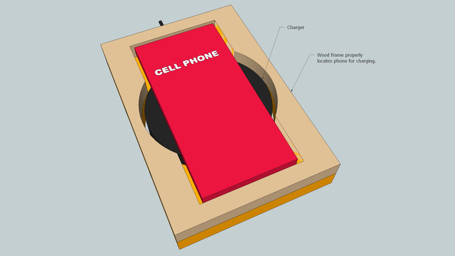 Wood box for always properly locating a cell phone for charging