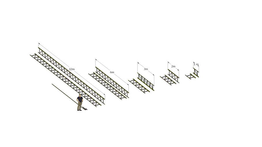 Lightweight Truss Collection, 12m, 6m, 3m, 2m, 1m. All 0.546m high, 0.05m width