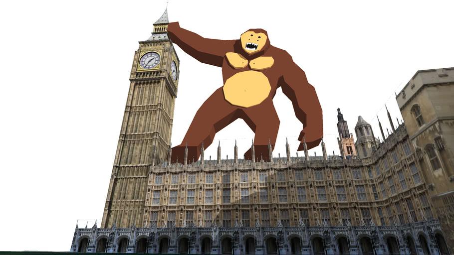 king kong attaking parliment biulding uk london