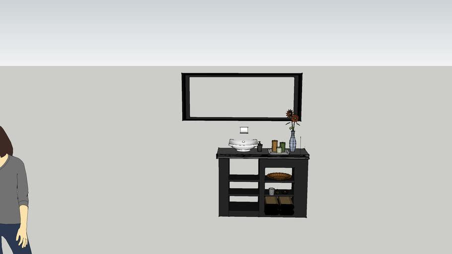 "48"" vanity w/ vessel + wall mount faucet"