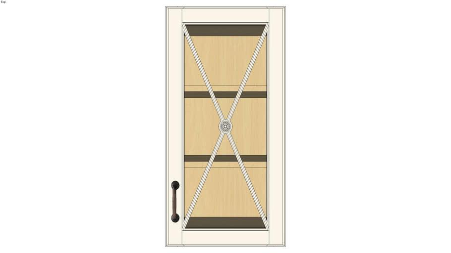 Wall Single Door 30Hx15D with Classic Mullion Antiquity Glass Insert
