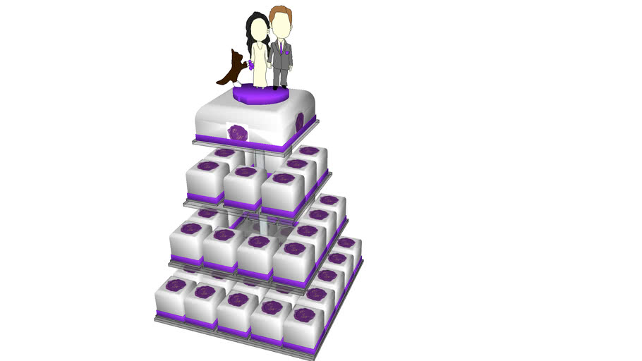 Square 4 tiers Wedding Cake with Personalized Topper