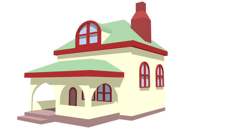 Bungalow with red trim