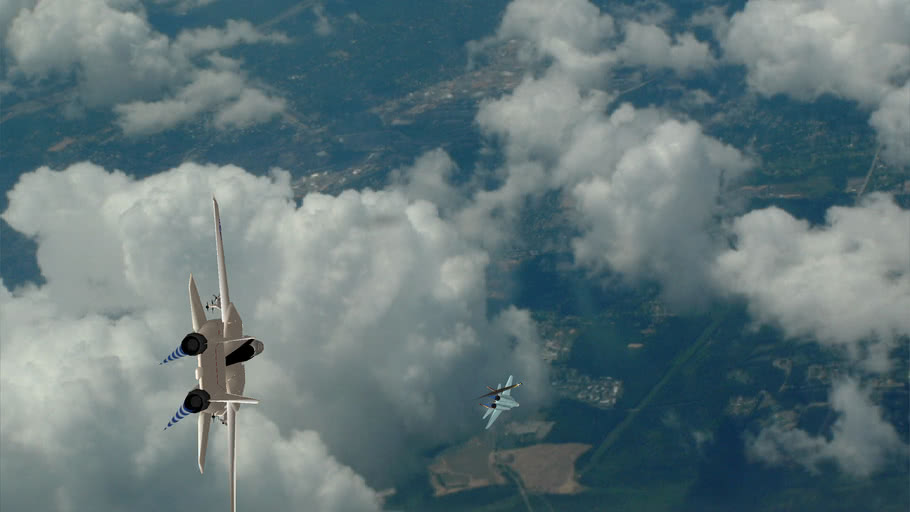 Aerial dogfight animation(2 F-14 tomcats close in on a mig 29)