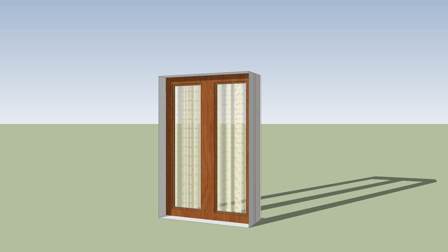 sliding glass window with curtain