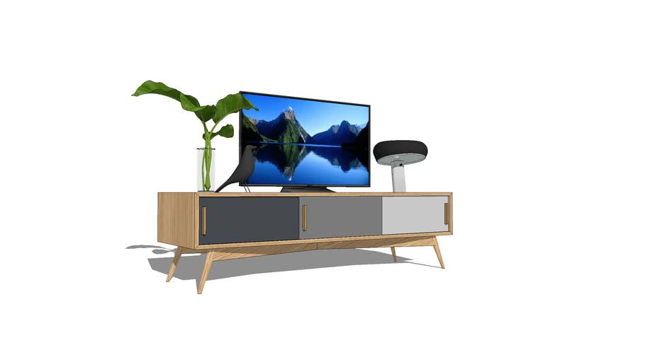Meuble tv en chêne comprenant 3 portes coulissantes en dégradé de gris 160x50xh45cm / TV furniture