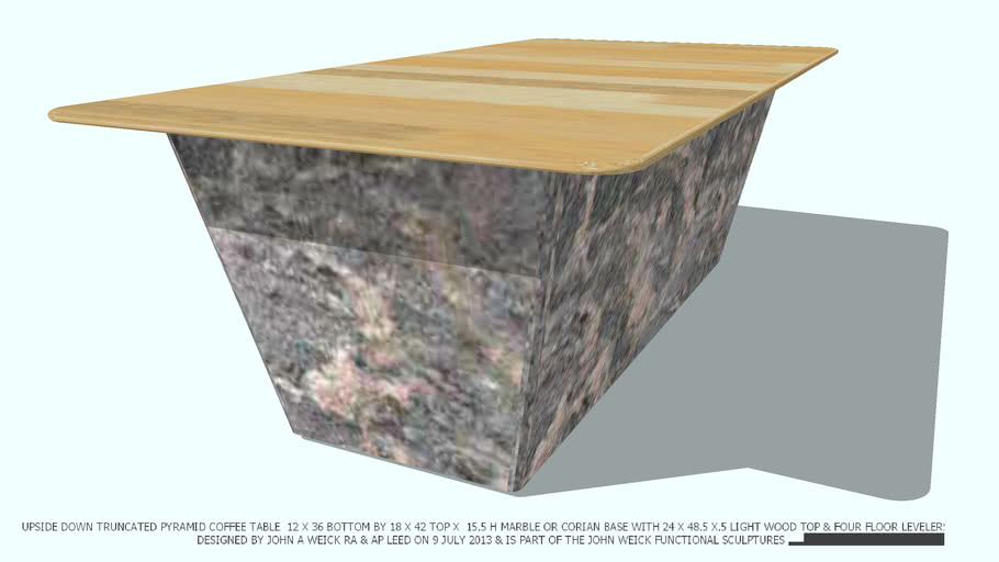COFFEE TABLE MARBLE TRUNCATED LT WD 2X4 TOP DESIGNED BY JOHN A WEICK RA