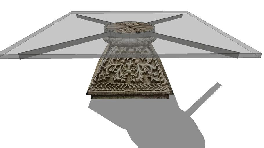 Table basse avec base chapiteau en pierre, coffee table with base in stone.skp