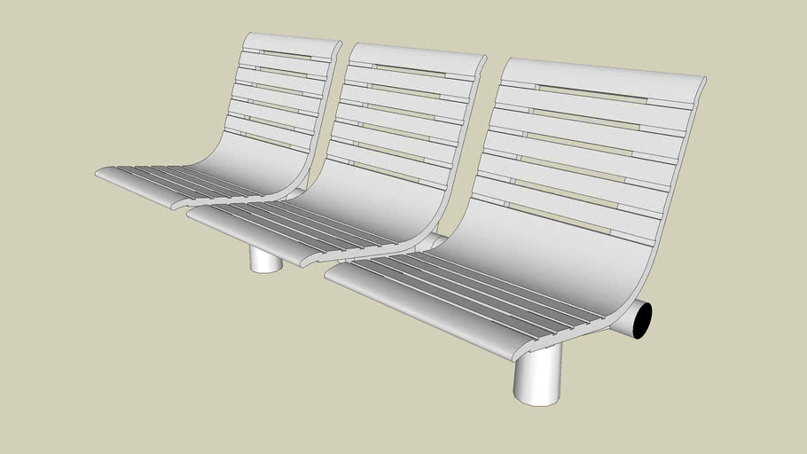 Forms+Surfaces® Tecno RS Seating, three backed seats, cylindrical mounting posts