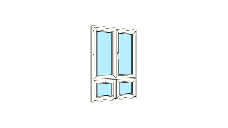 Окно штульповое двухстворчатое с двойной нижней фрамугой VEKA Softline 82