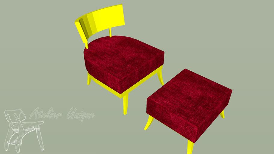Poltrona laca amarela assento vermelho com puff
