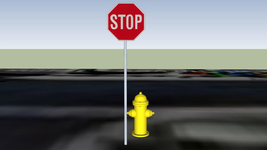 Chenango Ct and La Calera Wy stop sign and hydrant