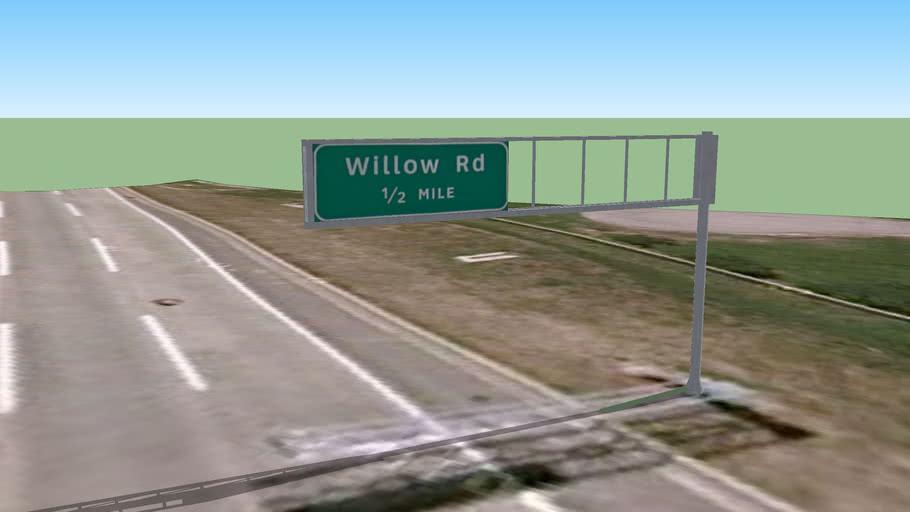Guide Signs- [I-294 SB] Willow Road Exit- 1/2 Mile