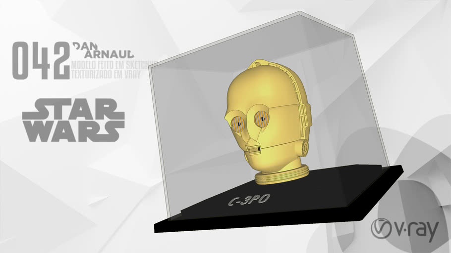 Capacete C-3PO - Planeta DeAgostini (VRay 3.4 - Ready)