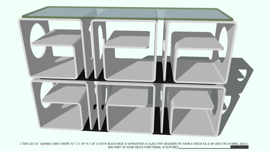 SHELVING 2 TIER WHITE & GLASS TOP BY JOHN A WEICK RA