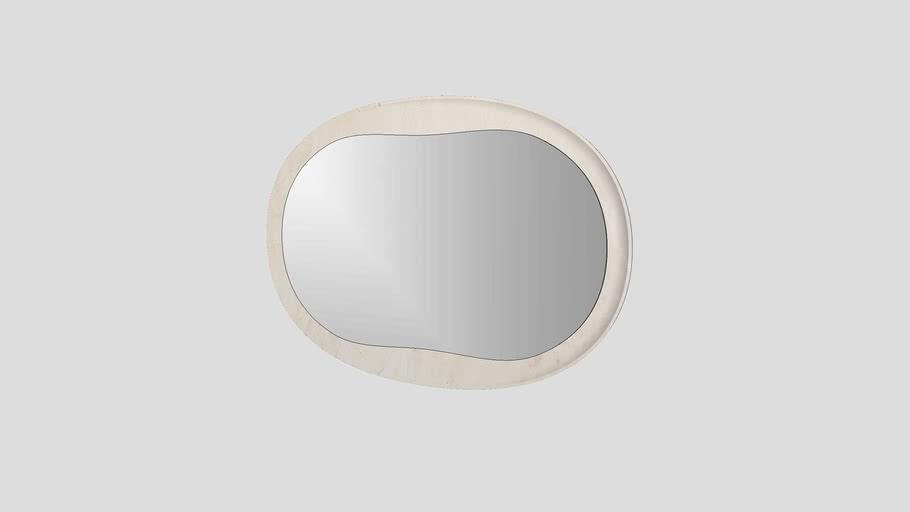 Oval mirror in Crema d'Orcia limestone   Salvatori   Anima 120x82cm