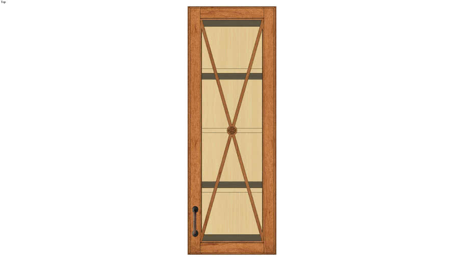 Wall Single Door 42H with Classic Mullion Antiquity Glass Insert