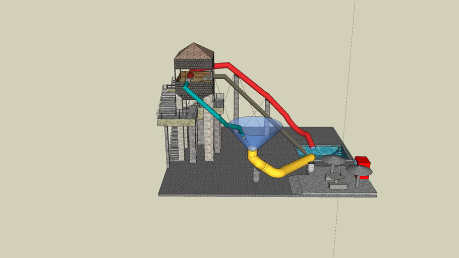 water slide with tower and food court2