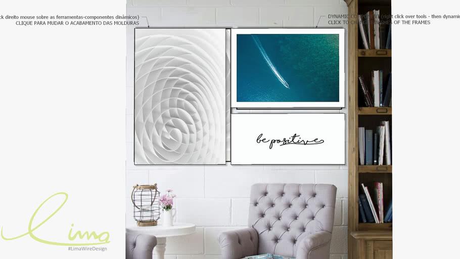 Composição com 3 quadros decorativos be positive, Coleção assinada: Paola Cury
