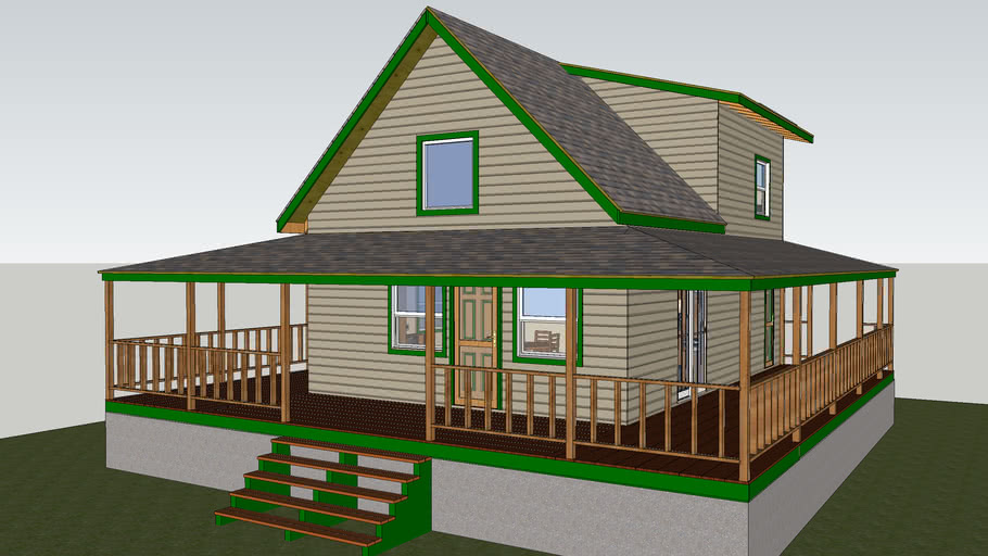 Bills Little House 820 Sq Ft 20 X 30 With Wraparound Porch 3d Warehouse