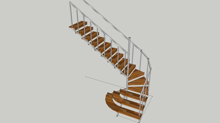 Лестница поворотная, с забежными ступенями