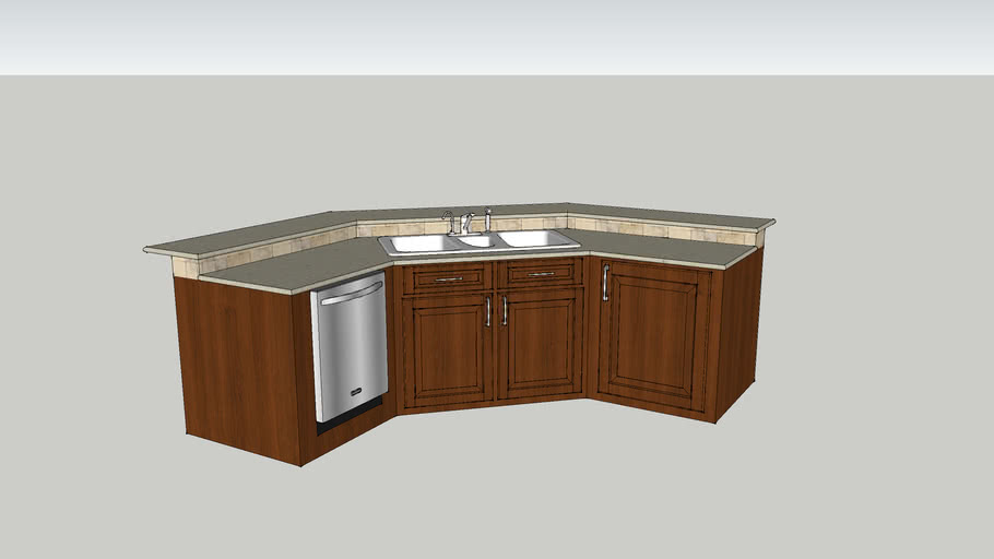 Kitchen Island Corner Angle With Sink And Dishwasher 3d Warehouse