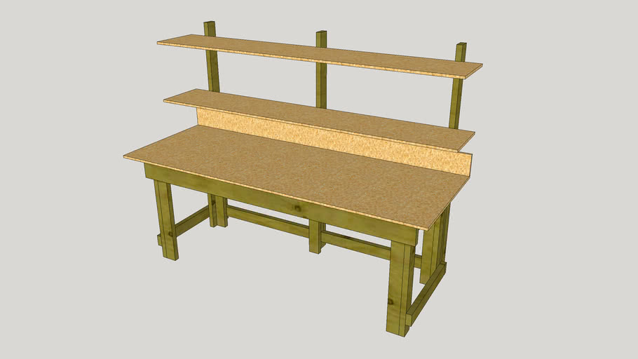 Wooden LAB Workbench with Shelves