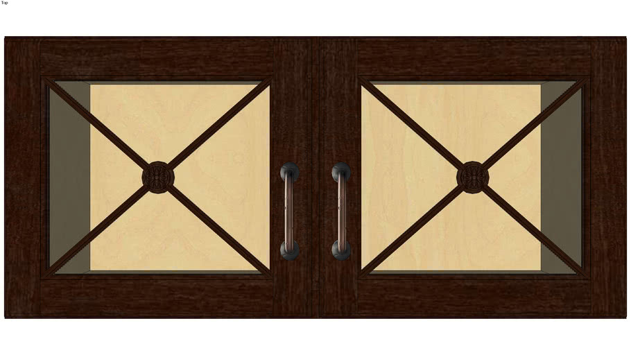 Wall Double Door 15H with Classic Mullion Antiquity Glass Insert