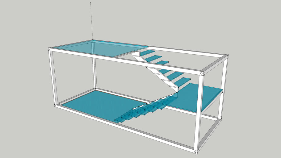Container Modulo 2400x6000 - Escada Vidro e Metal