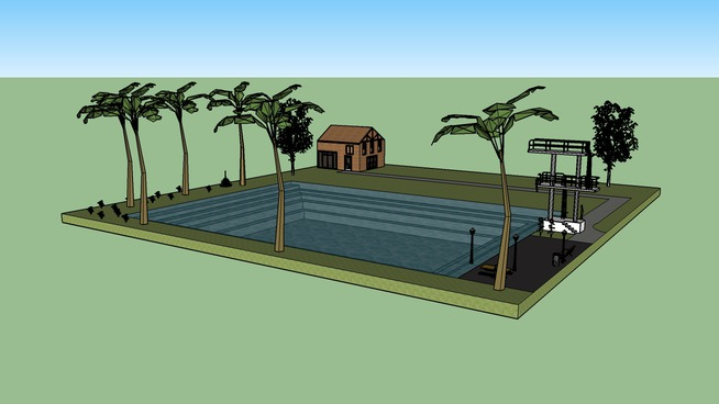 Haus mit Pool und Springturm
